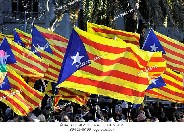 Demonstration on February 03, 2017 in favor of the Independence of Catalonia. Estelades, independentist flags. The Estelada, Estelades