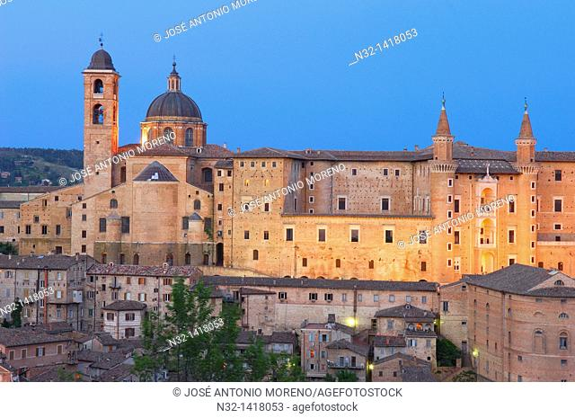 Duomo cathedral and Ducal Palace, Urbino, Marche, Italy