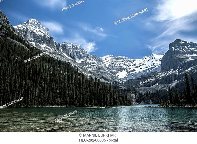 Lake below mountains with snow