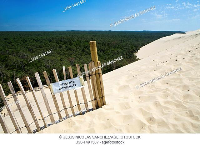 Dune of Pyla, the highest sand dune of Europe, located in La Teste-de-Buch, in the Arcachon Bay area  Aquitania coast  Gironde department, France