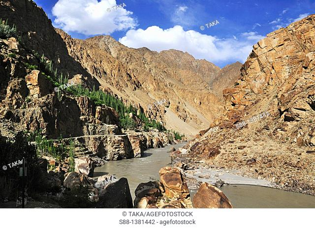 In the north of India there are many borders  On the road from the capital city Leh near the border between China  Dissolute mountain view continue along Indus...