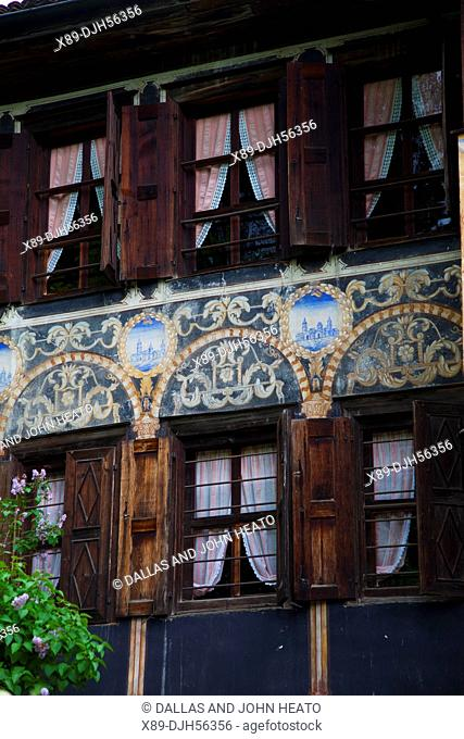 Bulgaria, Europe, Koprivshtitsa, Old Town, Nincho Aslekov House Museum, Facade, Paintings of Venice and European Cities