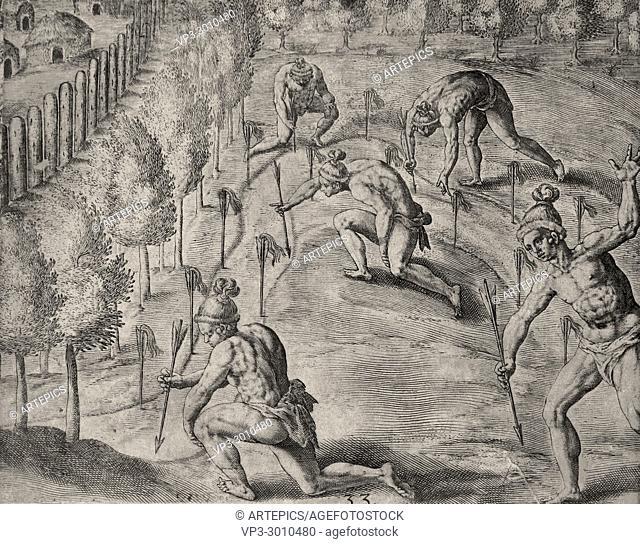 Theodor de Bry - native american warriors declare war on their enemy