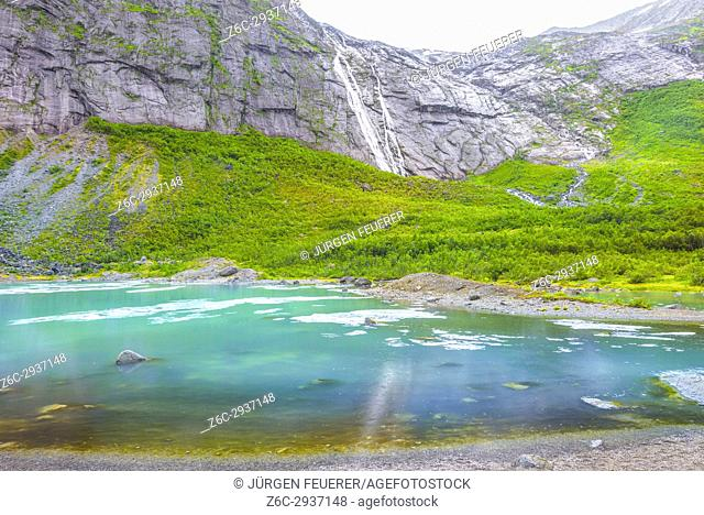 ice on the lake of the Briksdalsbreen glacier, side branch of the Jostedalsbreen glacier, Fjaerland, Norway