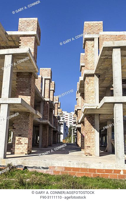 Residential construction abandoned in financial crisis, Salobreña, Granada, Spain