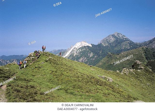 Italy - Tuscany Region - Apuan Alps Natural Park - Passo di Croce - Excursionists