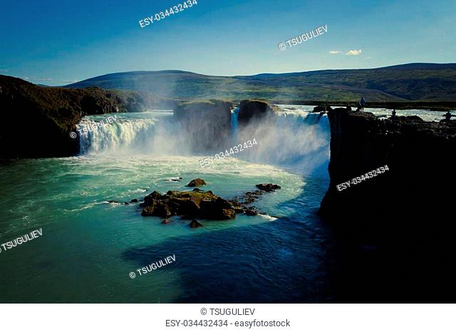 flow, most, fall, foss, land, river, water, travel, summer, nature, europe, outdoor, natural, iceland, gulfoss, tourism, godafoss, national, majestic, northern