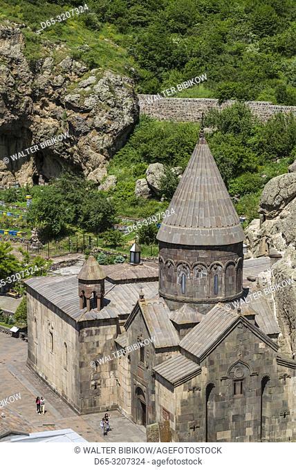 Armenia, Geghard, Geghard Monastery, Surp Astvatsatsin Church, 13th century, high angle view