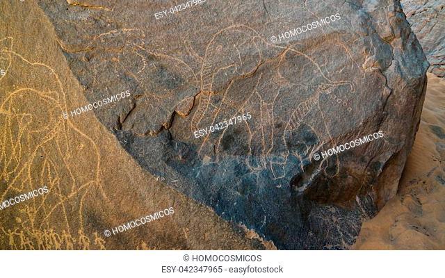 elephant and men- Cave paintings and petroglyphs at Boumediene ,Tassili nAjjer national park, Algeria