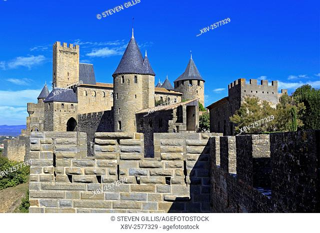 Medieval castle fortress at Carcassonne, Aude Languedoc Roussillon, France, a UNESCO world heritage site