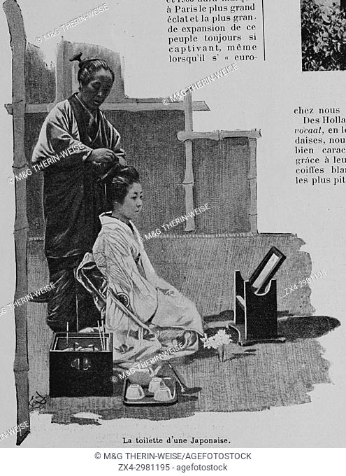 Japanese women's toilet, Women of the Universal Exhibition 1900 in Paris, Picture from the French weekly newspaper l'Illustration, 13th October 1900