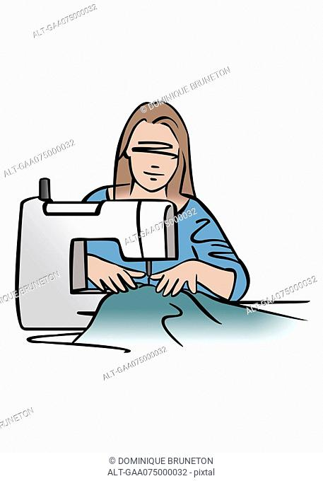 Illustration of woman using sewing machine