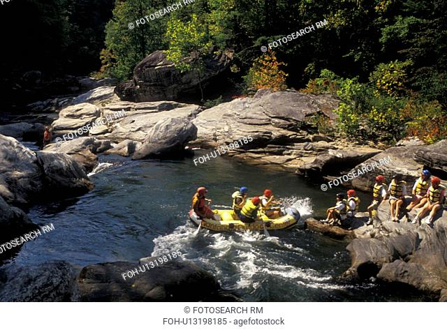 white water rafting, aerial, Chattooga River, North Georgia, Appalachian Mountains, White water rafting on the Chattooga Wild & Scenic River in the state of...