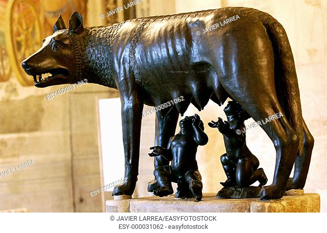 Capitoline Wolf in the Hall of the She-wolf, Palazzo dei Conservatori, Capitoline Museum. Rome. Italy