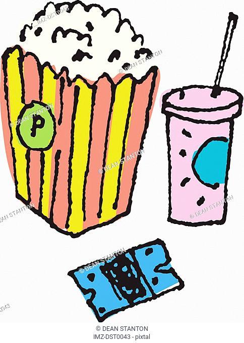 Popcorn, soda and a movie ticket