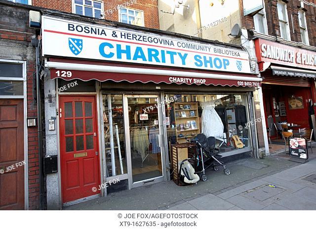 bosnia herzegovina community biblioteka small charity shop cricklewood north london england uk