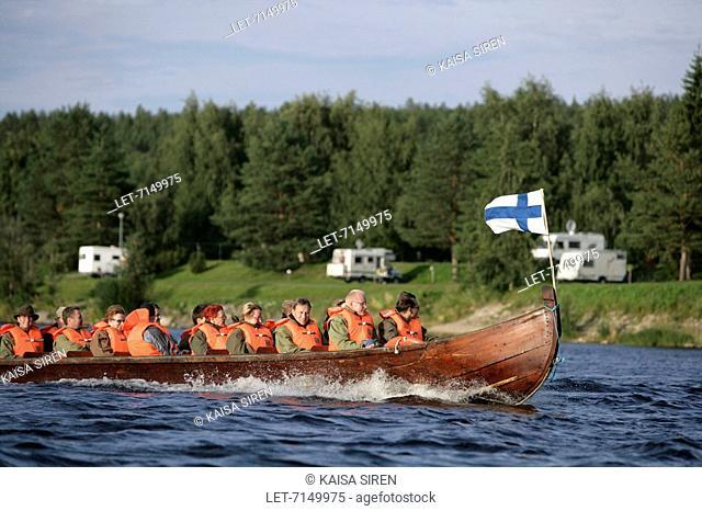 A river boat on Kemijoki-river in Rovaniemi. Finland