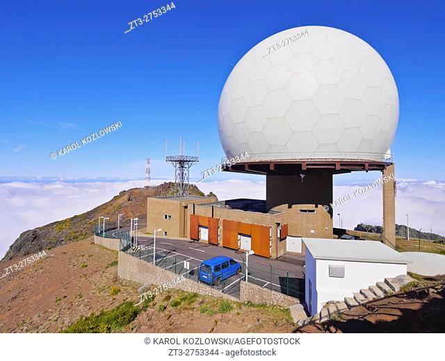 Portugal, Madeira, View of the observatory on top of the Pico do Arieiro.