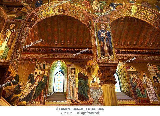 Byzantine Christian Mosaics of The palatine Chapel Capella Palatina in The Norman Palace Palazzo dei Normanni, Palermo, Sicily