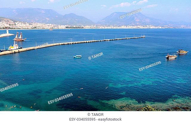 Seascape Mediterranean views shot from a high mountain