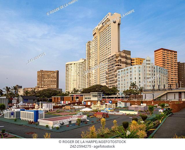 Mini Town and beachfront hotels. Durban or eThekwini. KwaZulu Natal. South Africa