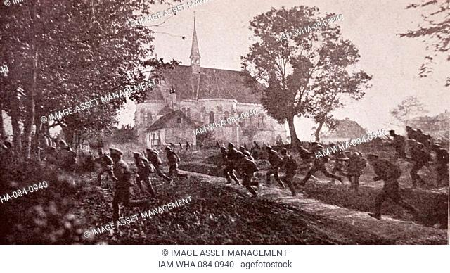 Scene depicting German soldiers fleeing through a village during the Great War. Dated 20th Century