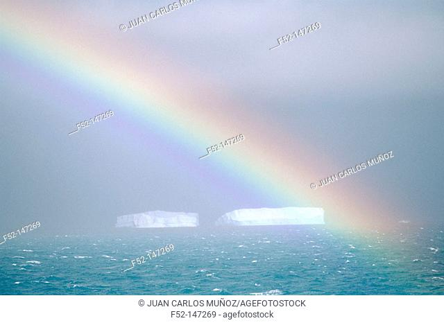 Rainbow and icebergs. Weddell Sea, Antarctica
