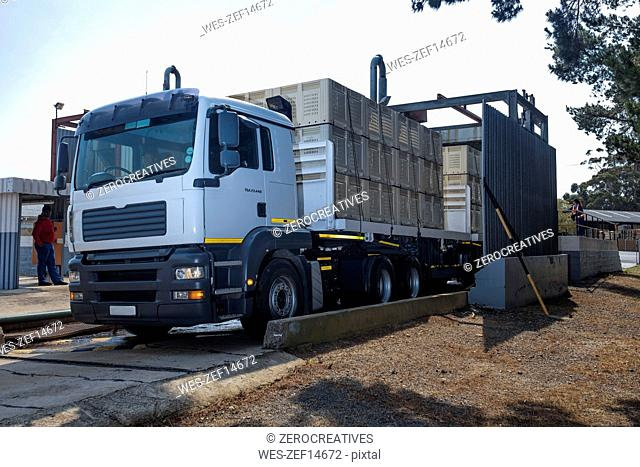 Truck transporting crates