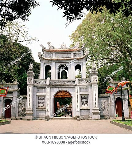 The Temple of Literature in Hanoi in Vietnam in Southeast Asia Far East