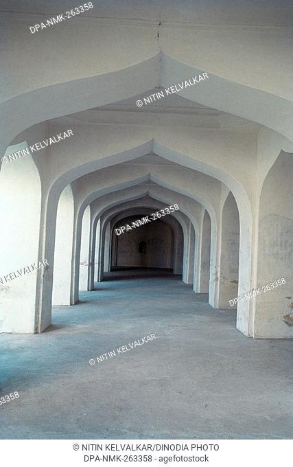 Arches in corridor of Gumbaz mausoleum, Srirangapatna, Mysore, Karnataka, India, Asia