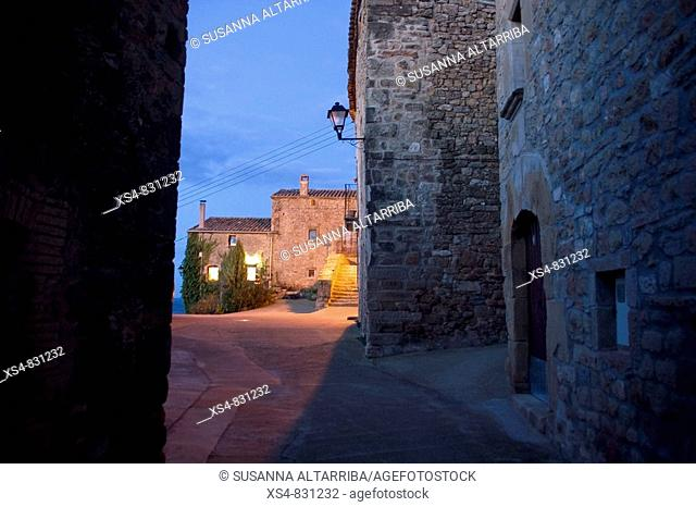 To dawn in small and old village Pinós, Solsonès, Lleida, Catalonia, Spain, Europe