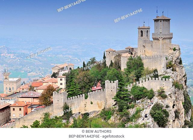 The Guaita fortress (Prima Torre) is the oldest and the most famous tower on Monte Titano, San Marino