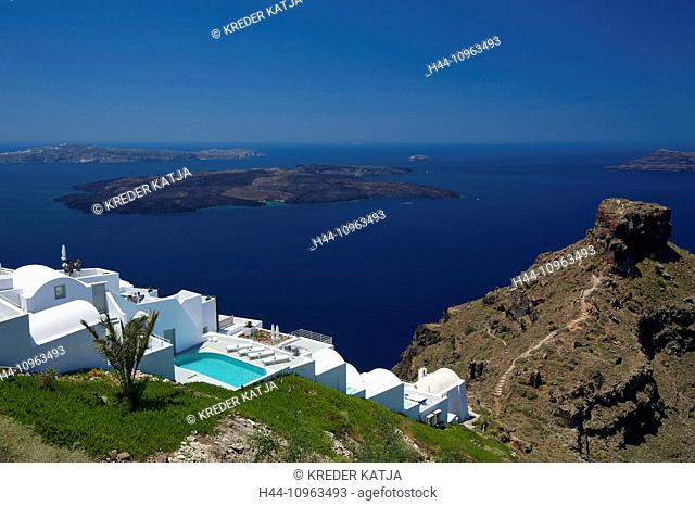Greece, Europe, Cyclades, island, isle, islands, Greek, outside, Mediterranean Sea, day, nobody, Santorin, Santorini, Firostefani, Imerovigli, hotel, tourism