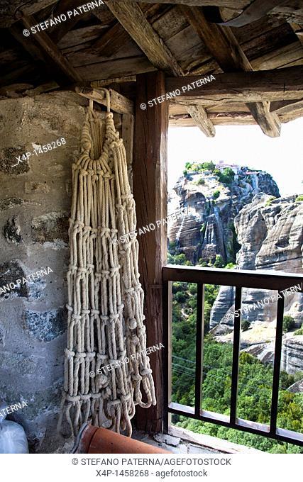 The original rope basket  Monastery of Varlaam, Meteora, Greece