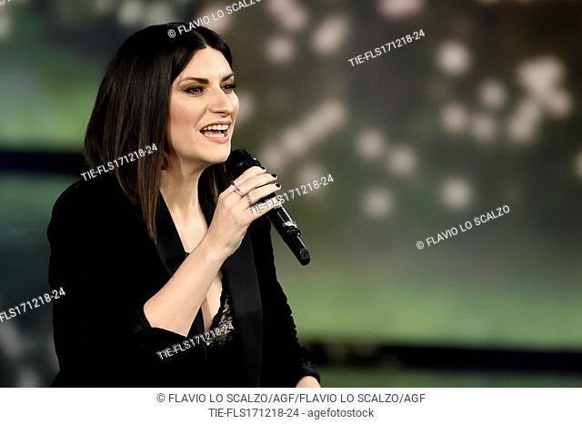 Italian singer Laura Pausini during the tv show Che tempo che fa, Milan, ITALY-16-12-2018