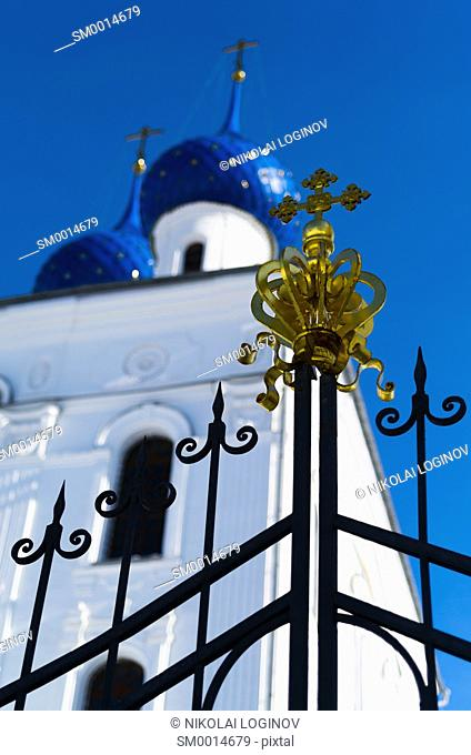 Vertical orthodox church gate design element backdrop