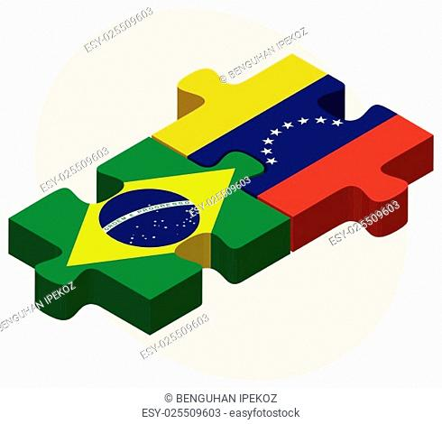 Brazil and Venezuela Flags in puzzle isolated on white background
