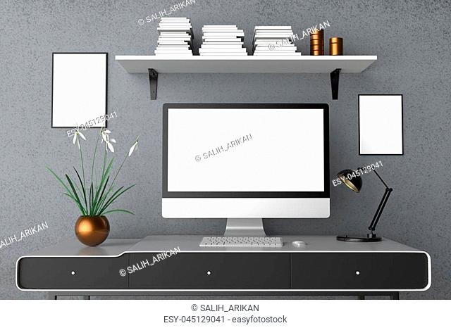 Modern workspace, isolated computer screen and frame mock up. 3D illustrating