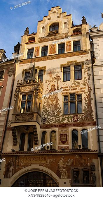 House with holy Wenzel, Fresco painting, Old Town Square, Staromestske namesti, Prague, Czech Republic, Europe