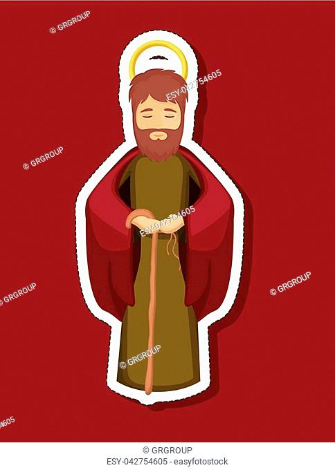 Joseph cartoon icon. Holy night family christmas and betlehem theme. Colorful design. Vector illustration
