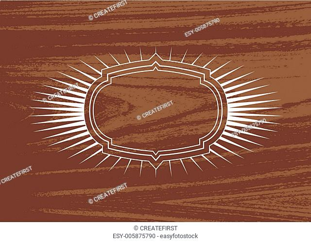 Vector Burst Frame and Wood Background