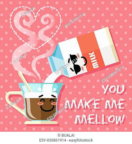 milk carton pouring milk into coffee cup with steam in heart shape