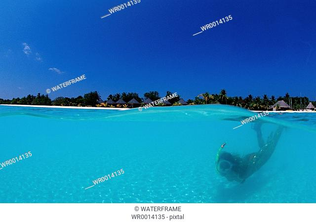 Snorkeling in Lagune, Indian Ocean, Maldives Island