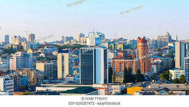 Panoramic aerial view of central district of Kiev. Ukraine
