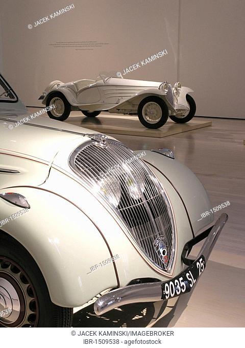 Peugeot 402 Eclipse and Alfa Romeo 6C Gran Sport, Mitomacchina exhibition, Museum of Modern Art, MART, Rovereto, Italy, Europe