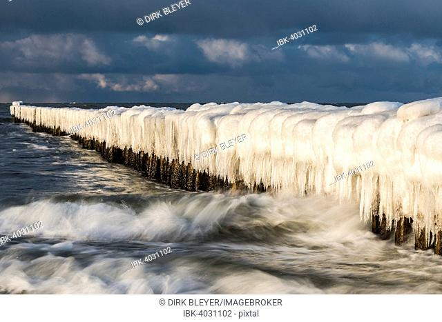 Groynes covered with snow and icicles, Baltic Sea, Zingst, Fischland-Darß-Zingst, Mecklenburg-Western Pomerania, Germany