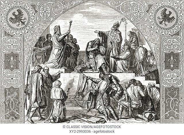 Baptism of Widukind at Attigny 785. Widukind, aka Widuking or Wittekind. Germanic leader of the Saxons. From Ward and Lock's Illustrated History of the World
