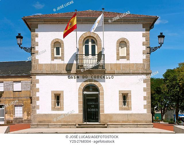Town hall, Sober, Lugo province, Region of Galicia, Spain, Europe