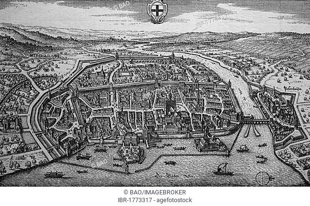 Konstanz, Germany, in the 17th century, historical steel engraving