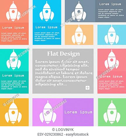 Rocket icon sign. Set of multicolored buttons with space for text. Vector illustration